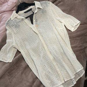 NWT😊Zara eyelet shirt blouse size M romantic gift